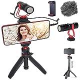 HAFOKO Smartphone Video Kit Vlogging Vlog Kit Vlogger Accessorio Vlog Rig kit con Treppiede Estensibile MiNi Microfono Telefo