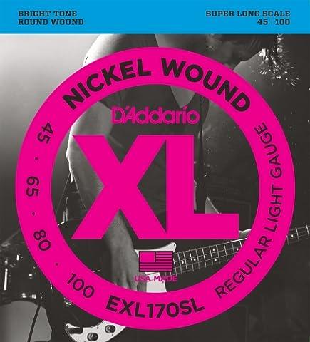 D'Addario Cordes en nickel pour basse D'Addario EXL170SL, Light, cordes extra-longues