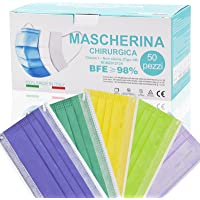 Mascherine Colorate Monouso MADE IN ITALY Certificate Tipo IIR,Nasello Regolabile Morbida e Traspirante Confezione Da 50…