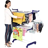 Happer Premium 2 Layer Cloth Drying Stand with Breaking Wheels, Compact Jumbo (Blue) Stainless Steel Plastic