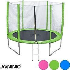 Jawinio Trampolin 305 cm (10F) Gartentrampolin Jumper Komplett-Set inkl. Leiter, Sicherheitsnetz und Sprungmatte Grün, Pink Oder Blau