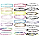 24 PCS Choker Collane, Gomma Tattoo Arcobaleno Choker Gothic Henna Stretch Elastico Colourful Chokers Set per donne Ragazze T