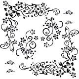 2pcs Pegatinas Pared Vinilos Adhesivos Stickers Decorativos Pared Flores Decoración DIY para Habitación Dormitorio