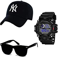 SELLORIA Combo Pack of Black Analogue Stainless Steel Watch with Black Sunglass with basboll Cap Black