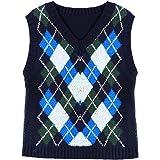 Aislor Fille Femme Tricot Tops Shirt Manteau Britannique Losanges Casual Sweater Vintage Veste Gilet sans Manches Automne Hiv