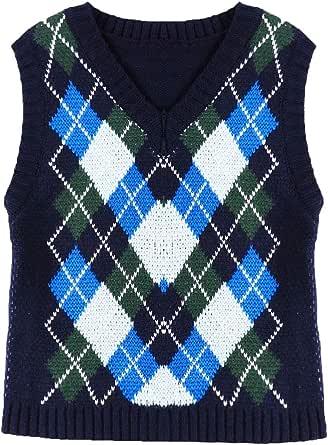 Aislor Fille Femme Tricot Tops Shirt Manteau Britannique Losanges Casual Sweater Vintage Veste Gilet sans Manches Automne Hiver pour Jean T-Shirt Jupes S-L