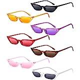نظارات شمس Zhanmai Retro صغيرة عين القط خمر مربع الظل النساء لطيف نحيل نظارات عين القط (7 أزواج)