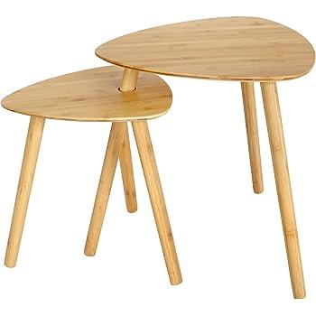 SONGMICS 2er Set Beistelltisch Aus Bambus Couchtisch Wohnzimmertisch  Satztisch Kaffetisch Klein Tische Ideal Für Wohnzimmer, Schlafzimmer,  Balkon LNT352N