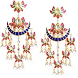 I Jewels Women's Contemporary Metal Gold Plated and Zinc Alloy Pearl Chand Bali Earrings (Multicolour)