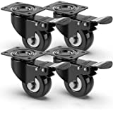 4 roulettes pivotantes silencieuses 50mm, Roulettes pour meubles avec frein, roulette charge lourde Capacité de charge de 400