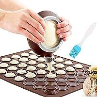 Nifogo Macaron Mat Silicone Making Set - 48 Capacité Macaron et Décoration StyloCuisson Tapis Moule Mode Glaçage…