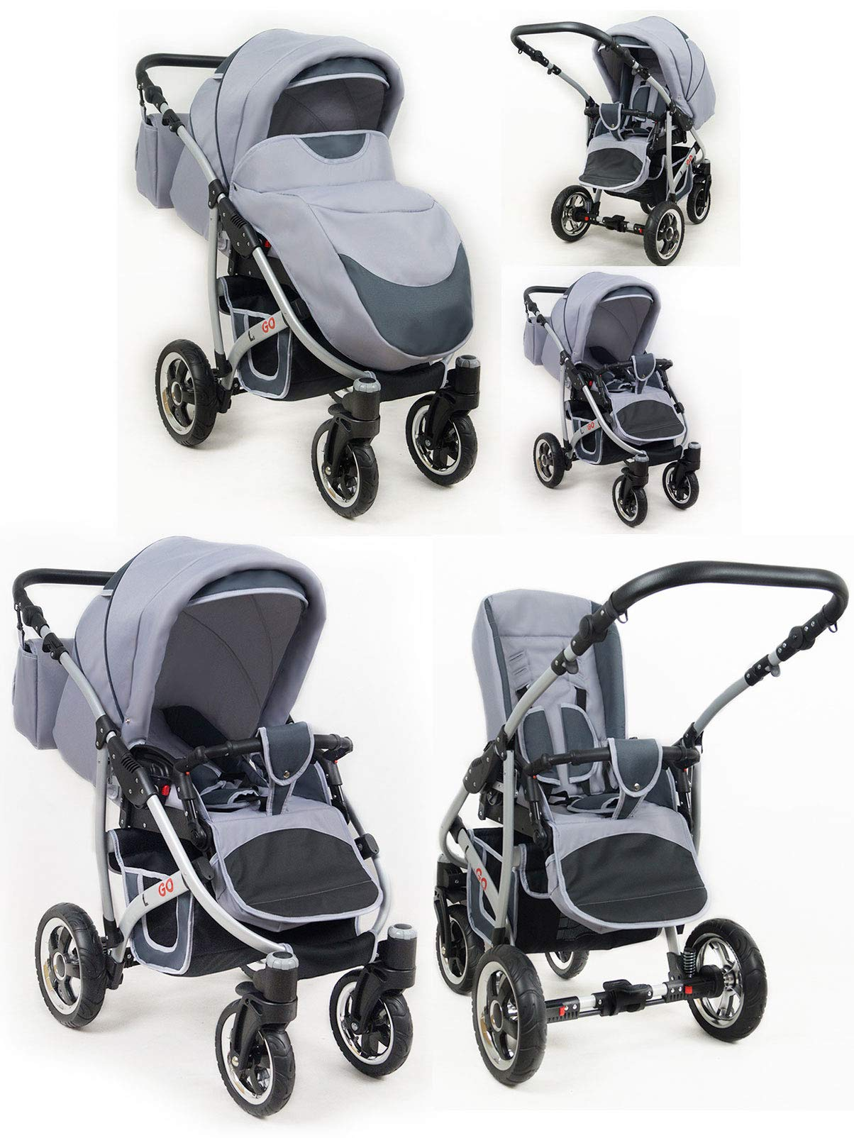 SaintBaby Stroller Pram 2in1 3in1 Set All in one Baby seat Buggy Pushchair New L-GO Black 3in1 with Baby seat SaintBaby 3in1 or 2in1 Selectable. At 3in1 you will also receive the car seat (baby seat). Of course you get the baby tub (classic pram) as well as the buggy attachment (sports seat) no matter if 2in1 or 3in1. The car naturally complies with the EU safety standard EN1888. During production and before shipment, each wagon is carefully inspected so that you can be sure you have one of the best wagons. Saintbaby stands for all-in-one carefree packages, so you will also receive a diaper bag in the same colour as the car as well as rain and insect protection free of charge. With all the colours of this pram you will find the pram of your dreams. 6