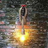 Loft Hanf Seil Wandleuchte Stahlrohrleuchten Lobby Wasserrohrleuchten Wohnzimmer Schlafzimmer Nachttischlampe Balkon Korridor Innenhof Lampen Lernen Eingang Licht Treppen Beleuchtung Dekoration Licht