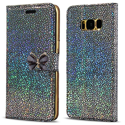 LCHULLE Samsung Galaxy J5 (2016) Hülle, Pearl Spots Bling Glitter 3D Schmetterling PU Leder Flip Case mit Stand Brieftasche Magnetverschluss TPU Back Stoßdämpfer Buch Cover-Black Pearl Flip Case