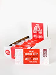 Prime Beef Bars - High Protein, Paleo & Keto Friendly - Made with British Grass Fed Beef (Sweet & Spicy)