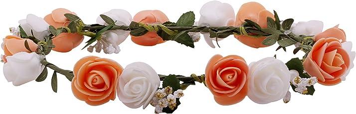 Sanjog Flower Multicolored Gracious Tiara/Crown Head Wrap For Wedding Party Beach For Women Girls
