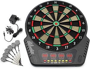 Forever Speed Profi Elektronische Dartscheibe LCD Dartboard Dartspiel Dart inkl.6 Pfeile Dart Scheibe mit Dartpfeile Netzadapter für 1-16 Spieler