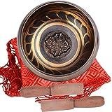 Tibetische Klangschale 9,5 cm (mit 2 stk Klöppel + 1 Kissen) zur Meditation, für Yoga und Chakra-Heilung