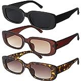 Gaosaili 3 Stücke Vintage Rechteckige Sonnenbrille für Damen und Herren, Sonnenbrille Rechteckig Retro Brille mit UV Schutz S