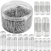750 Pieces Paper Clips Assorted Sizes Small, Medium and Large Paperclips 28 mm,33mm,50 mm for Office School and Personal…