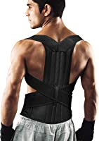 ENKEEO Posture Corrector, Breathable Pain Relief Lumbar Upper Back Brace Straightener, Shoulder Support With Adjustable Belt for Men and Women In Gym, Outdoor, Home And Office