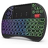 Rii Mini toetsenbord met touchpad, Smart TV toetsenbord, 2,4 GHz draadloos toetsenbord met 8 kleuren achtergrondverlichting e