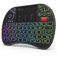 Rii X8 Mini Tastatur Wireless, 2,4 GHz Kabellos Tastatur mit 8 Farbige Hintergrundbeleuchtung, Touchpad und Scrollrad…