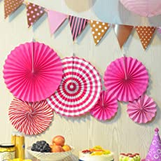 Latest Design Party Decoration Paper Fan Set of 6 (Pink) / Girl Pink Theme Decoration