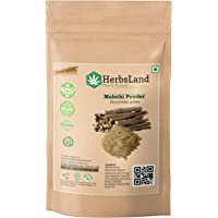 HerbsLand® Bio Organic Mulethi Powder (Yashtimadhu Root Powder), Liquorice Powder For Body, Skin, and Hair | Skin Whitening (100 gm)