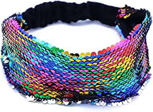 LUOEM Mermaid Sequin Headband Reversible Sequins Padded Hair Band Alice Band for Girls Party Gift (Colorful)