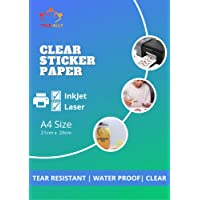 True-Ally Clear Self Adhesive Sticker Photo Paper for Inkjet and Laser Printer (Transparent) Waterproof, Dries Quickly…
