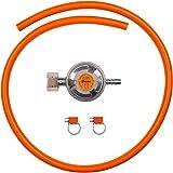 Kit de connexion pour appareils de gaz propane butane comprenant un régulateur de gaz basse pression 37 mbar, 1,5 kg/h avec v