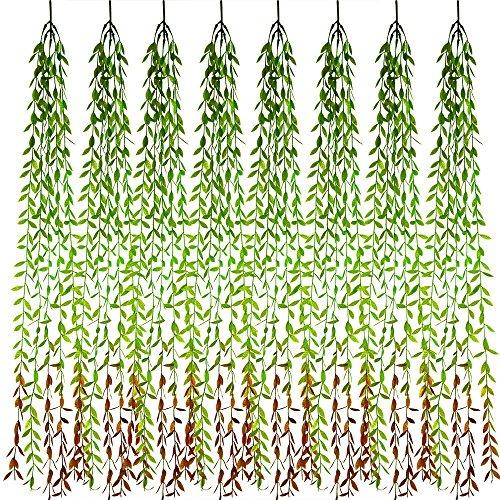 FEPITO 8 PCS künstliche hängende Reben Faux-Grün-Girlande-Weide-Blätter Rattan-Weiden-Zweig mit 40 Pfosten für Dschungel-Partei-Hochzeits-Hausgarten-Wand-Dekoration -