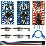 WayinTop 2pcs Pro Mini 3.3V 8MHz Placa de Desarrollo Reemplazar Microcontrolador + Adaptador FTDI FT232RL USB to TTL Serial 3