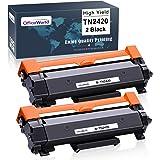 OfficeWorld Compatibile Brother TN-2420 TN2420 TN2410 TN-2410 Cartucce di toner (2 Nero) con Chip per MFC-L2710DW…