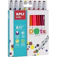 Apli kids 16805-8 feutres Dots avec embouts ronds - 8 couleurs