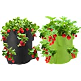 SOSTUDIO Grow Bags 2 Pack 10 Gallon Strawberry Planter with 8 Side Grow Pockets, Breathable Non-woven Fabric Reinforce Handle