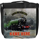 Personalised Wash Bag Flying Scotsman Steam Train Hanging Toiletry Bag   Travel Make up Cosmetic  Overnight Bag ** Add a Name