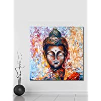 999Store Wooden Stretched Lord Gautam Buddha Budha canvass painting wall paintings for bedroom buddha frame art bed room…