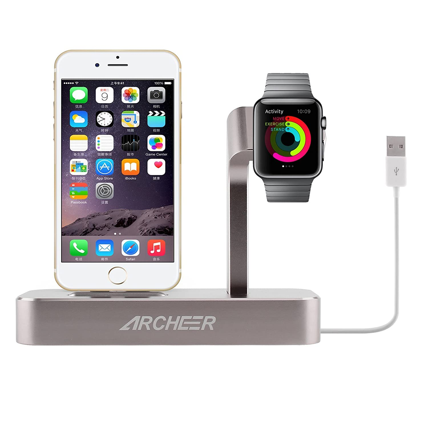 apple watch iphone charging dock station charger holder. Black Bedroom Furniture Sets. Home Design Ideas