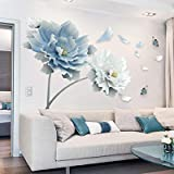 Hxcuza muurstickers grote witte blauwe bloem lotus vlinder verwijderbare muurstickers art decals voor woonkamer en slaapkamer