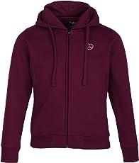CAYMAN Girls Cotton Solid Hooded Sweatshirt (Burgundy, 5-6 Years)