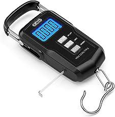 Dr.meter [Digitale Kofferwaage] 110 lb/50 kg Elektronische Waage Digital Fischen Paket Gepäckstücke Aufhänge-Haken Waage mit Maßband, 2 AAA Batterien enthalten