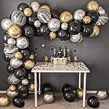 SPECOOL Ballon Garland Kit Wit & Zwart & Goud Latex Ballonnen Arch Garland Pack voor Bruids Douche Verjaardagsfeestje Verjaar