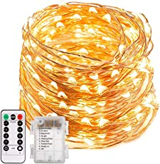 200 LED Lichterkette Batterie, Trylight 8 Modi IP65 Wasserdicht LED Kupferdraht Lichterkette, Sternen Lichterketten mit Fernbedienung & Timer, Weihnachtsbeleuchtung für Weihnachten,Garten,Party (Warmweiss)