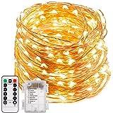 200 LED Lichterkette Batterie, ECOWHO 8 Modi IP65 Wasserdicht LED Kupferdraht Lichterkette, Sternen Lichterketten mit Fernbedienung & Timer, Lichterkette für Zimmer,Weihnachten