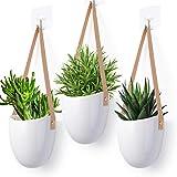 Herefun Pot de Fleurs à Suspendre Blanc Macramé Céramique Pot Céramique pour Plantes Suspendues Lot de 3 Intérieur Extérieur