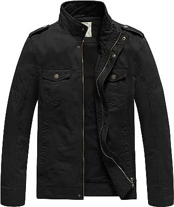 WenVen Men's Lightweight Cotton Jacket Casual Leisure Jackets Stand Collar Jackets Outdoor Windproof Jackets
