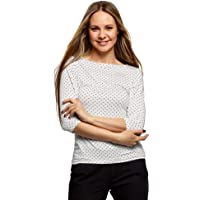 oodji Collection Donna T-Shirt Stampata con Maniche a 3/4
