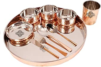 IndianArtVilla Hammered Steel Copper Thali Multicuisine Dinnerware Set